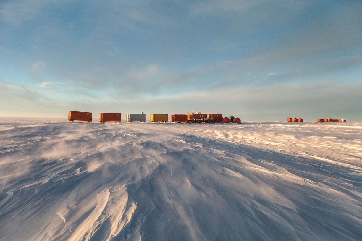 "Antarctica -  Convoy known as the ""Raid"" trucks supplies across 1200 km of frozen desert to Concordia."