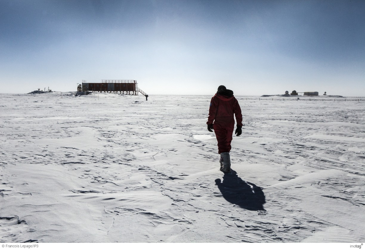 Antarctica - Scientist heading for his shelter at the Concordia Research Station.